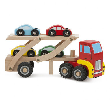 New Classic Toys autotransporter junior hout rood/bruin 2-delig