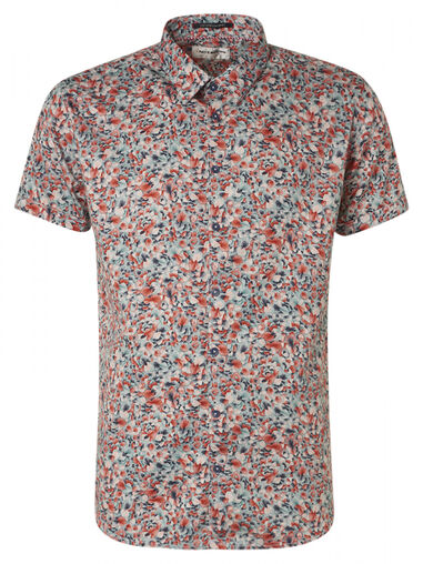 No Excess 95490307 all over printed satin short sleeve shirt 056 lime no-excess groen