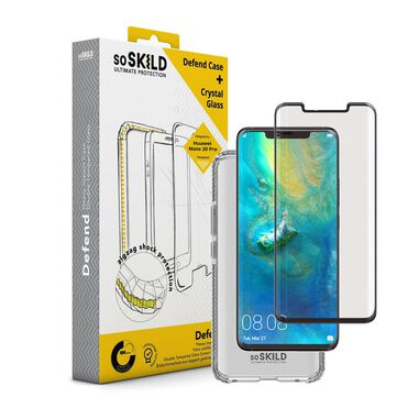 SoSkild Huawei Mate 20 Pro Defend Heavy Impact Case Transparant and Tempered Glass Transparant