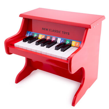 New Classic Toys piano 18 toetsen junior 32,5 cm hout rood