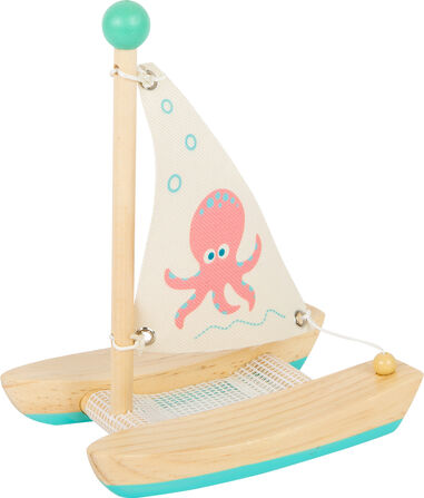 Small Foot catamaran octopus junior 19 cm hout/textiel naturel