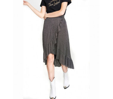 Alix 197288390 ladies knitted lurex mesh long skirt