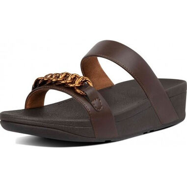 FitFlop Lottie chain slides chocolate brown-schoenmaat 36