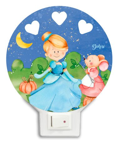 Dekori nachtlamp Assepoester led junior 12 x 14 cm hout
