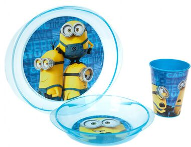 Stor Lunchset Minions magnetron blauw 3-delig