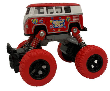 Big Wheels World monstertruck pull-back 11,5 cm staal rood