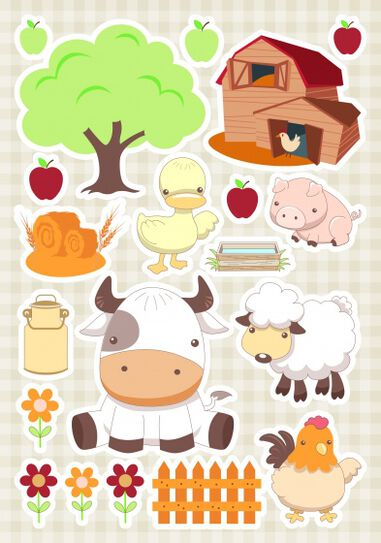 Kids Decor muurstickers Baby Farm 47 x 70 cm