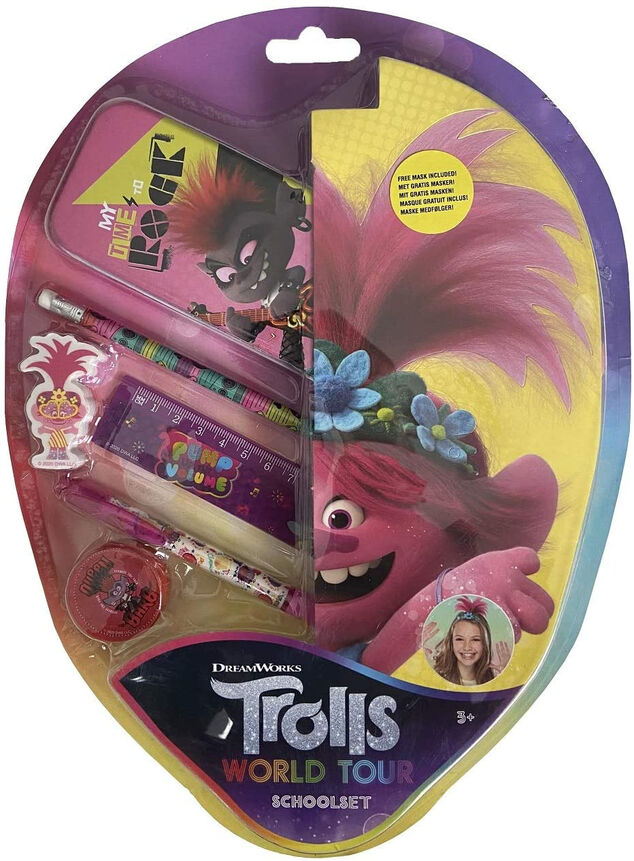 Dreamworks Trolls World Tour school briefpapier set met masker
