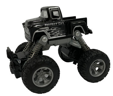 Big Wheels World monstertruck pull-back 11,5 cm staal zwart