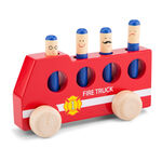 New Classic Toys brandweerauto junior 18 cm hout rood 9-delig