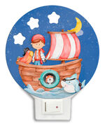 Dekori nachtlamp piratenboot led junior 12 x 4 cm hout