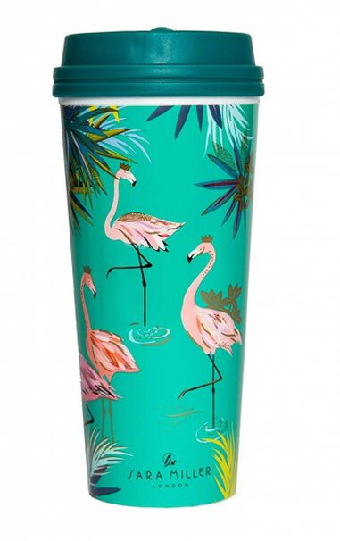 Blueprint Collections thermosbeker Flamingo 460 ml groen