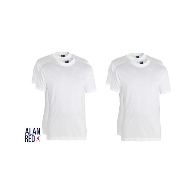 Alan Red 4-pack t-hirt virginia ronde hal wit
