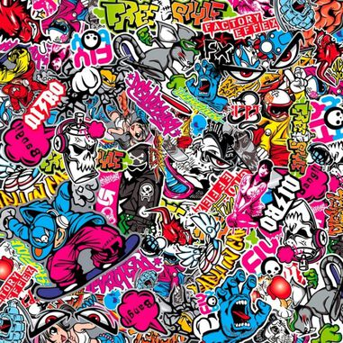 stickerbombfolie Grafitti A 200 x 60 cm