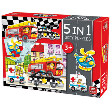 Kiddy 5 in 1 Auto's - Kinder Puzzel