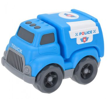 Free and Easy politieauto overdreven proporties 15 cm blauw
