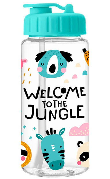 Arditex drinkbidon 400 ml jungle 16 cm transparant/blauw