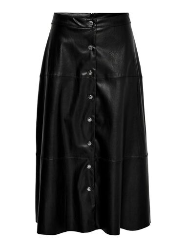 Only Middellange rok Leatherlook