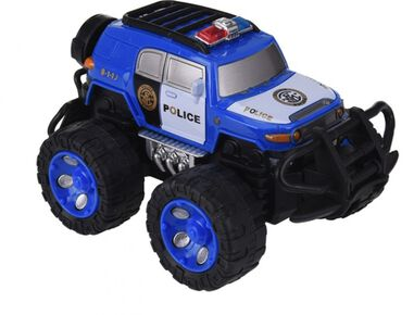 Free and Easy politie monstertruck blauw C 12 cm