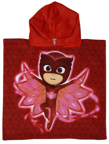 PJ Masks badponcho Super Owl Wings rood junior 50 x 100 cm