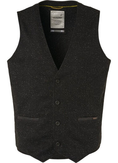 No Excess Gilet knitted melange zwart