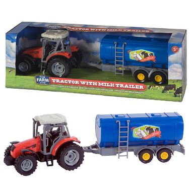Dutch Farm Serie Tractor Rood met Trailer 1:32