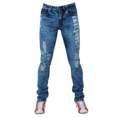 Bravo Jeans heren jeans damaged look slim fit stretch lengte - blauw