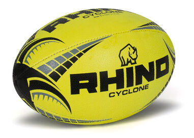 Rhino rugbybal Cyclone rubber/polyester geel maat 3