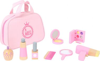 make-up tasje met speelgoed make-up hout roze