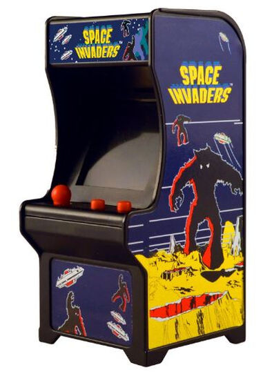 World Smallest Toys speelautomaat Space Invaders 6 x 8 x 13 cm blauw