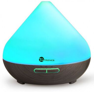 Taotronics 300ml Wood Grain Zen Style Aroma Diffuser with Cool Mist and 7-Color LED Coffee