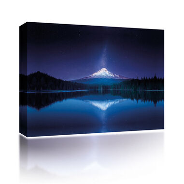 Canvas Mountain reflection at night