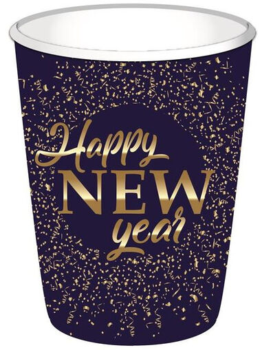 Haza Original feestbekers Happy New Year 250 ml blauw 8 stuks