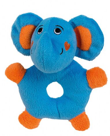 Happy People pluche rammelaar ring olifant 15cm blauw