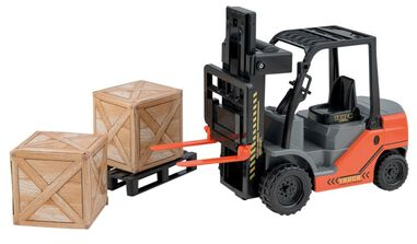Happy People heftruck met pallet en kisten 24 cm oranje