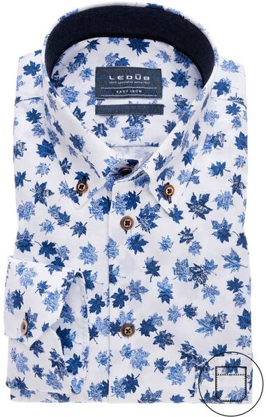 Ledûb Heren overhemd blauw blad print button down poplin modern fit wit