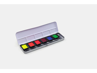Verftablet 30x22mm Neon Aquarellcolors, 6 stuks in blik, Finetec