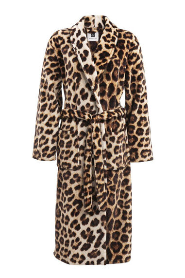 Zo Home Flanel Fleece Badjas Leopard - brown