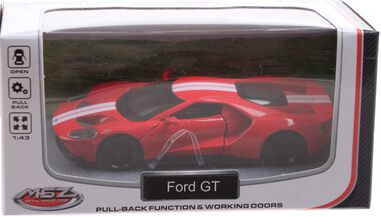 Johntoy sportauto schaalmodel 1:43 8 cm Ford GT rood