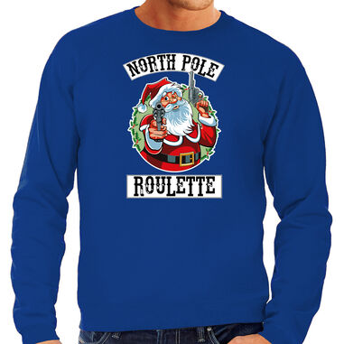 Grote maten foute Kerstsweater / Kerst trui Northpole roulette blauw voor heren - Kerstkleding / Christmas outfit