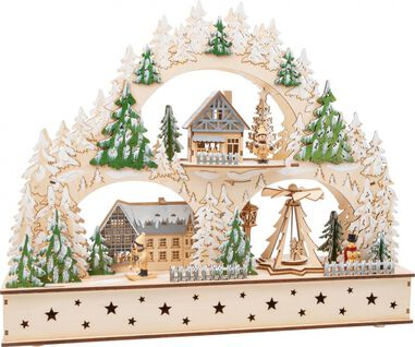 Small Foot kerstaccessoire Winter Village Arch hout 50 cm blank