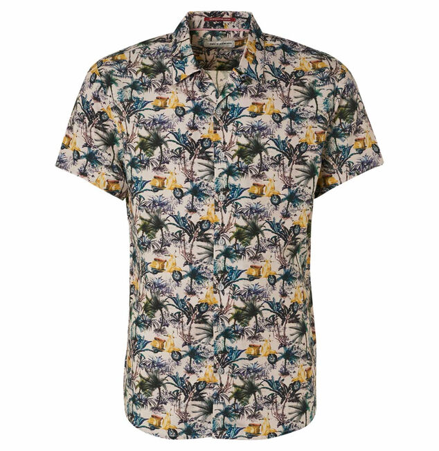 No Excess 95420303 all over printed stretch short sleeve shirt 056 lime no-excess
