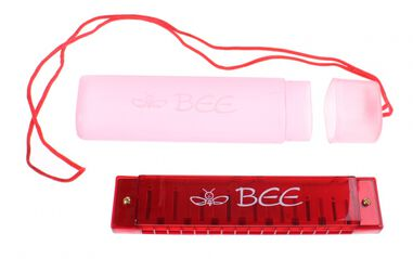 Toi-Toys mondharmonica Bee in opbergetui 13 cm rood