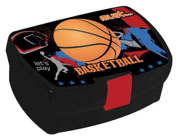 Must lunchset 350 ml Basketball jongens zwart/rood 2-delig