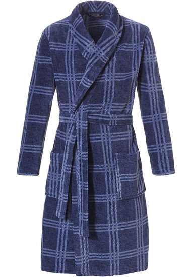 Cool- & donkerblauwe  100% soft fleece overslag heren badjas 'cool checks'