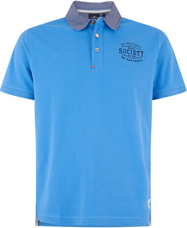 HV Polo Society poloshirt jayson blue oxford collar blauw