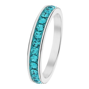 Stalen kinderring blue zircon kristal