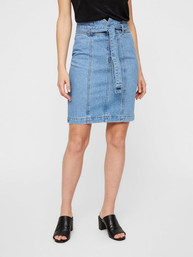 Pieces Denim rok High-waist