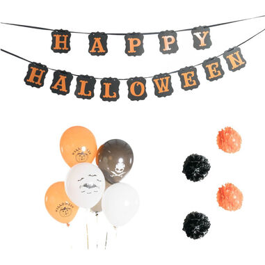 Bodysocks Halloween decoratie oranje/zwart 11-delig