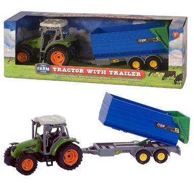 Dutch Farm Serie Tractor Groen met Trailer 1:32